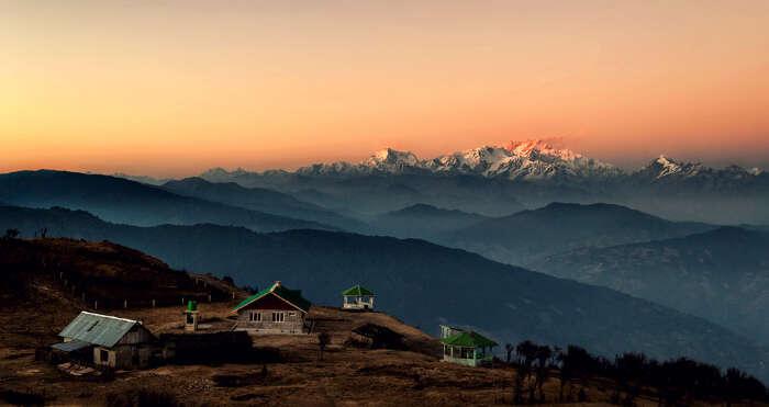 The Sandakphu Hills during sunset near Darjeeling