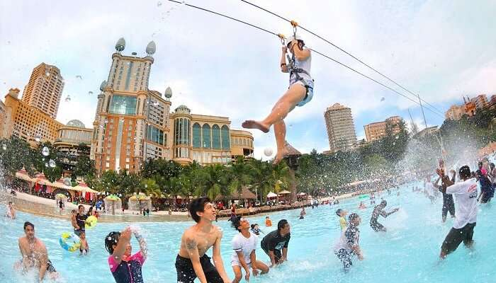 People having thrilling fun at Sunway Lagoon Theme- one of the top places to visit in Kuala Lumpur