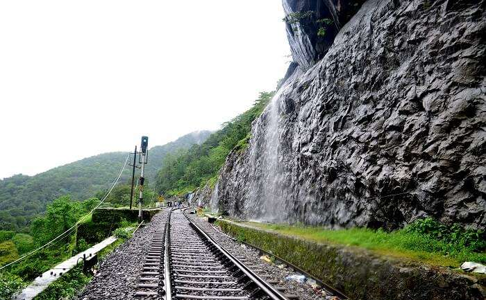 Intertwining train tracks near Dudhsagar Waterfall