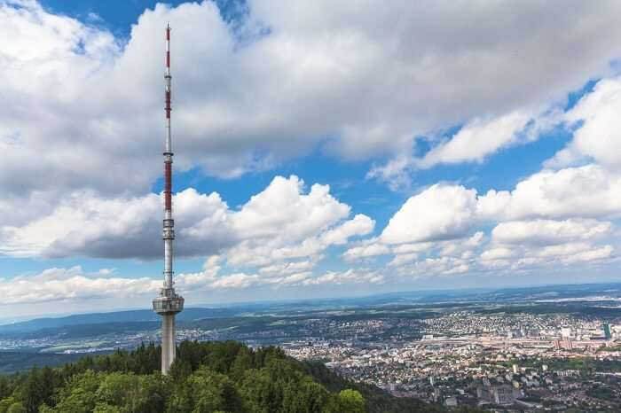 The television tower atop the Uetliberg mountain overlooking the Zurich city