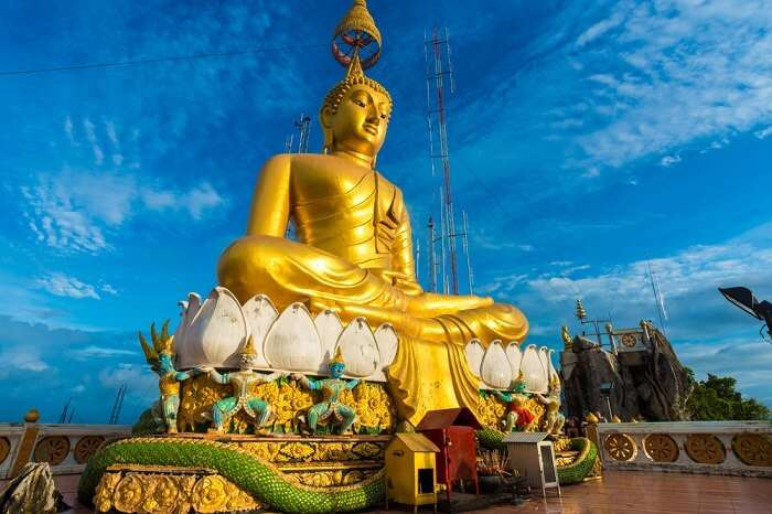 Golden statue of Lord Buddha at Wat Tham Sua – One of the best places to see in Krabi