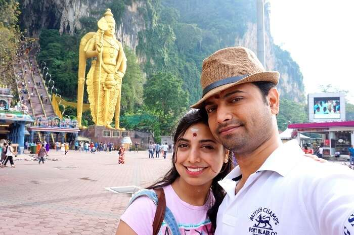 Bhargan and his wife in Batu Caves en route Genting Island