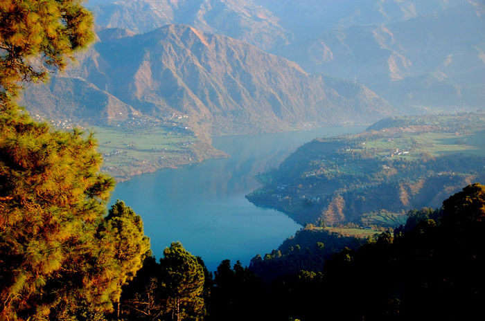 The top view of Chamera Lake near Dalhousie