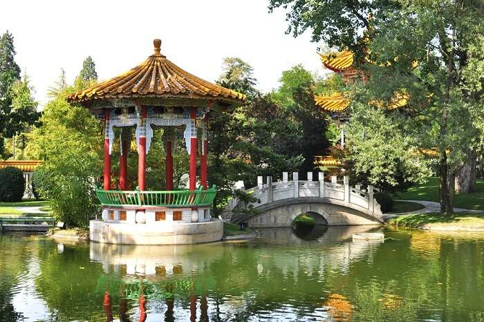 The beautiful temple garden by the lake at the Chinese Garden in Zurich