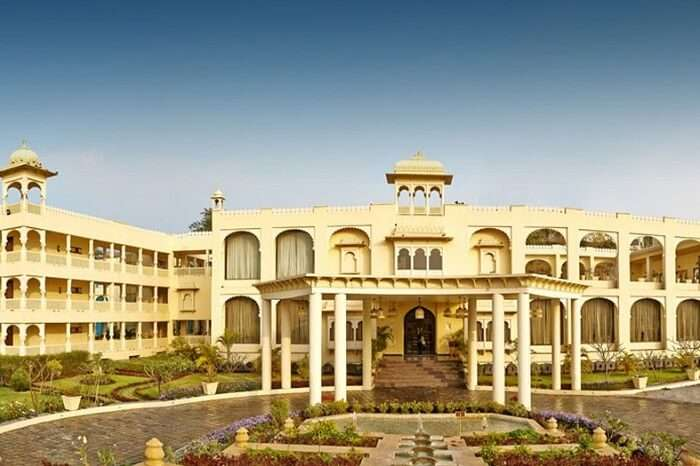 The majestic entrance of the Club Mahindra Resort
