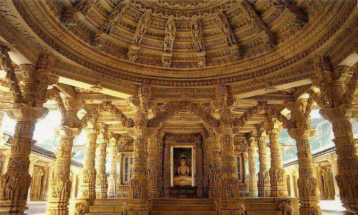 The interiors of a Dilwara Jain Temple in Mount Abu