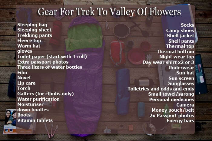 Stuff to carry on your trek to Valley of Flowers