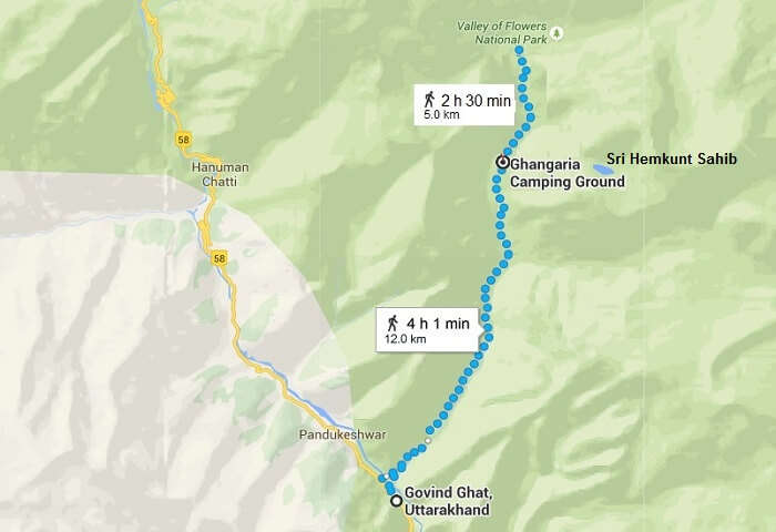 The google map route of the trek to Valley of Flowers
