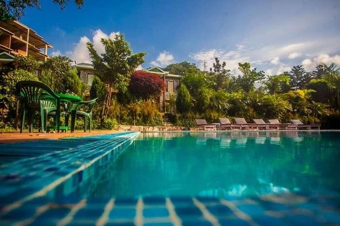 A shot of the swimming pool at the Narayana Palace Resort near Rishikesh