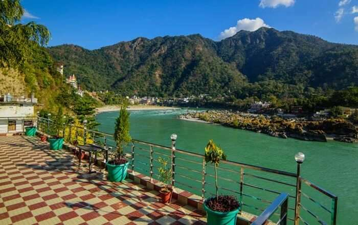 A view of the Ganga river from the balcony of the Ganga Beach Resort Rishikesh