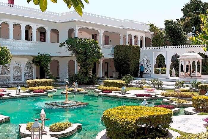 The lotus pond and Hindu temple inside the Taj Lake Palace