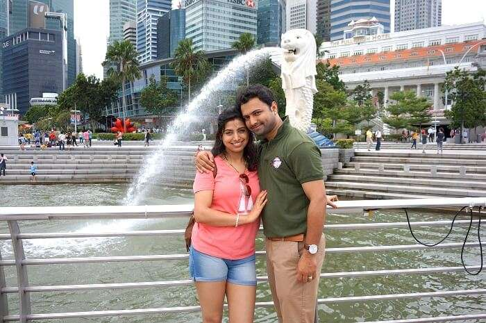 Bhargav and his wife in Marina Bay are Singapore