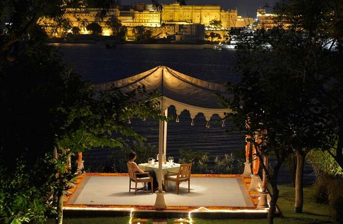 Lakeside dining at the Oberoi Hotel in Udaipur