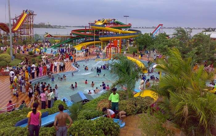 The water rides and pool at the Ocean Park in Hyderabad