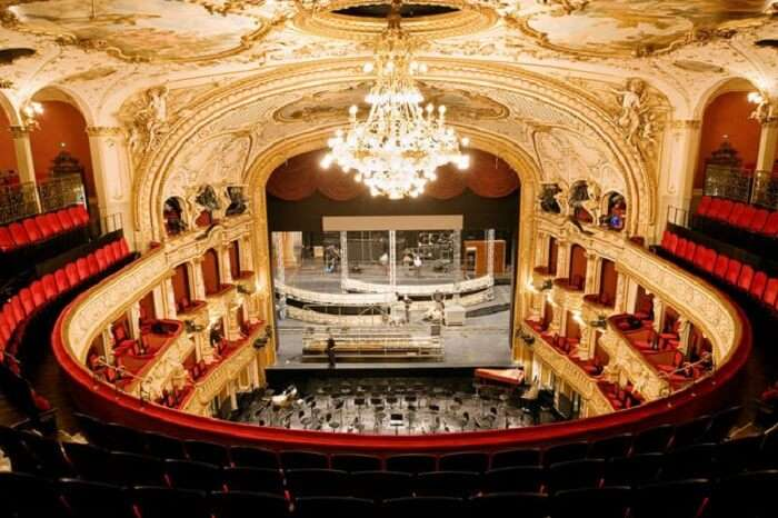 The massive seating and beautifully designed interiors of the Opera House in Zurich