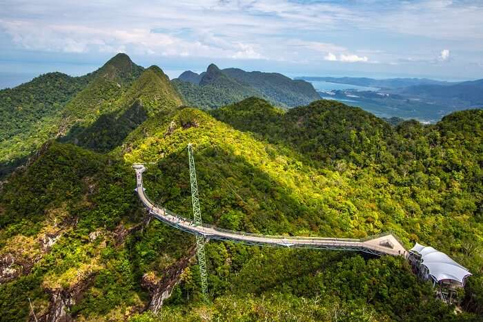An aerial view of the Sky Walk that overlooks the various places to visit in Langkawi