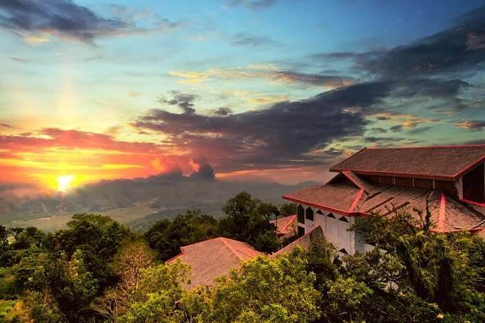 Sunset view from the top of Gunung Raya Mountain at Langkawi Island in Malaysia