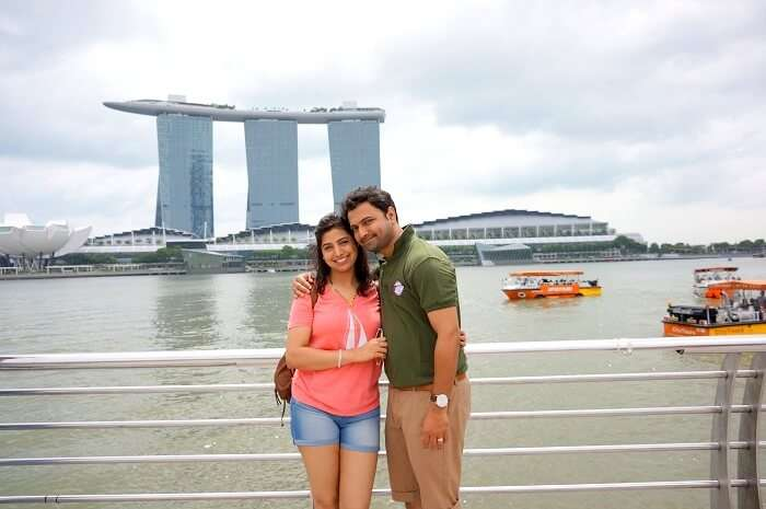 Bhargav and his wife in Singapore