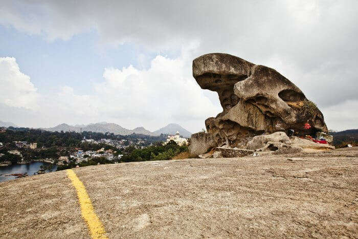 The famous Toad Rock in Mount Abu