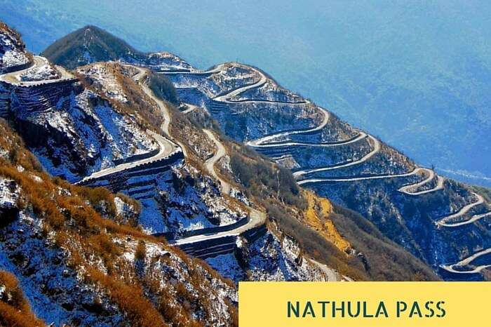 The multilevel zig-zag stretches of road near Nathula Pass connecting Zuluk to Thambi View