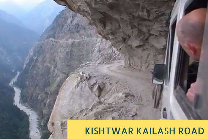 The narrow Kishtwar Kailash Highway with low overhanging cliff and no guardrails that make it one of the scariest roads in India