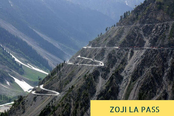 The multilevel zig-zag road near Zoji La Pass that is narrow and has many sharp curves