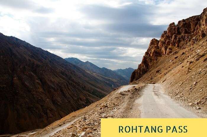 One of the narrow stretches with hairpin curves near Rohtang Pass on the Leh-Manali Road
