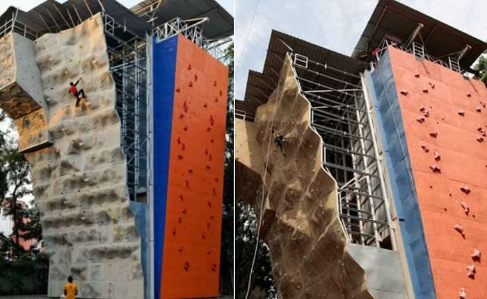 People trying the artificial wall climbing that is one of the adventure sports in Pune