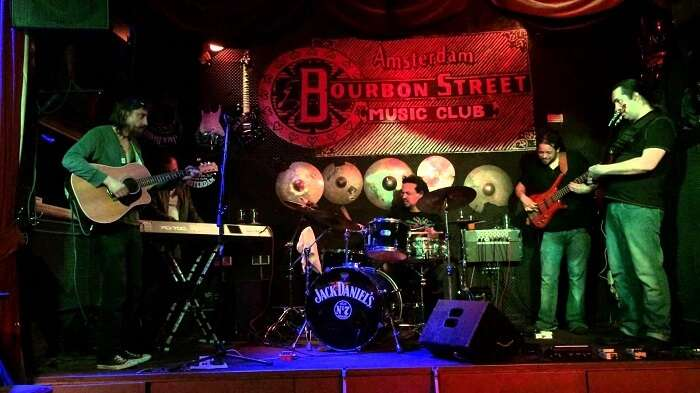 A band performs at the Bourbon Street music club