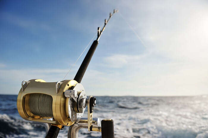 Fishing rod casted in Lakshadweep Sea for deep-fishing
