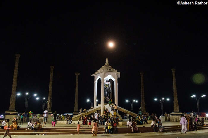 A four-meter statue of Mahatma Gandhi is surrounded by eight granite pillars at Goubert Avenue Beach Road in Pondicherry