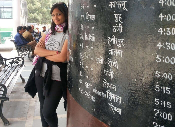 Swati at the Highway Bus Stand