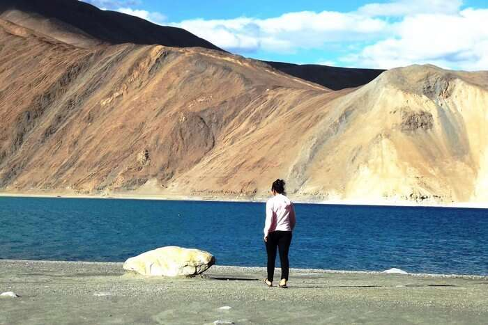 Swati walking the path of happiness and bliss at Pangong Lake, Ladakh