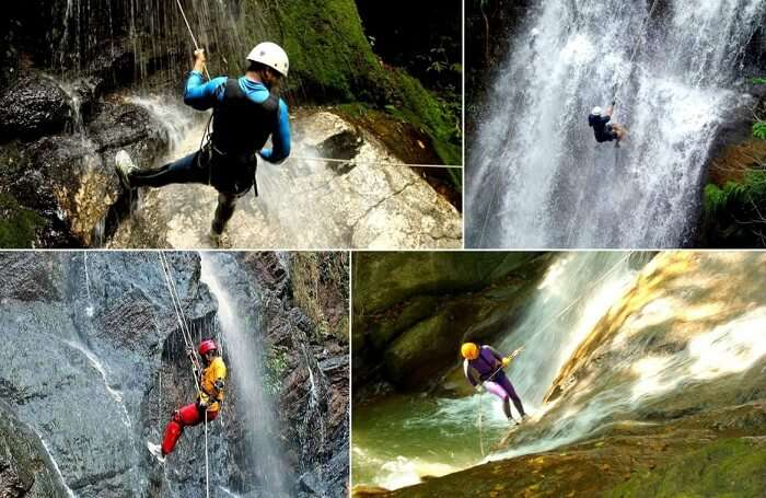 Many shots of people trying rappelling at Madhe Ghat near Pune
