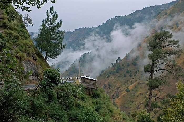 The road along the cloud-covered hills in Kasauli