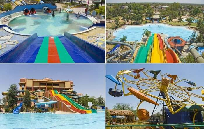 The various rides at the popular Pink Pearl Water Park near Jaipur