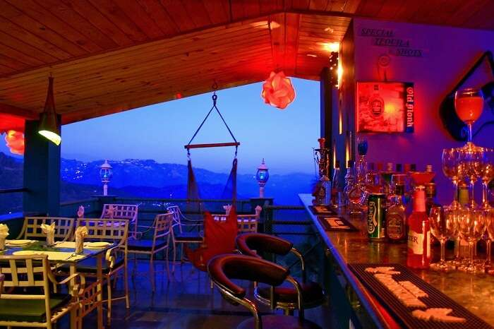 The rooftop Hangout Bar in Kasauli that offers views of the hills and the city