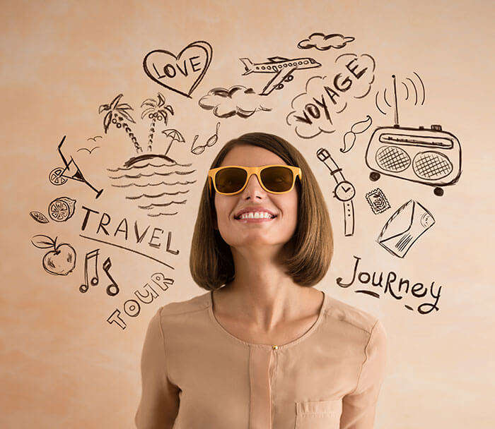 Image of a woman thinking about travelling