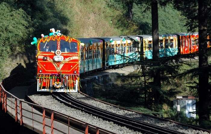 The colorful toy train plying between Dharampur and Barog