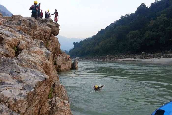 One of the popular activities in Rishikesh is cliff jumping