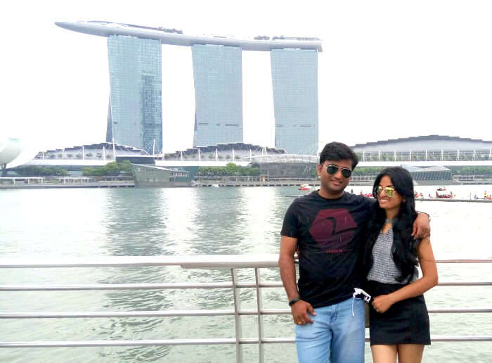 Pooja and her husband in Marina Bay