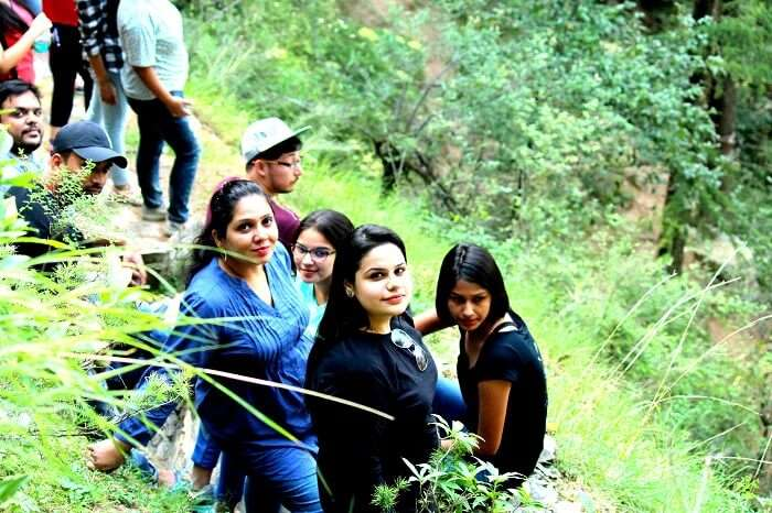Girls doing forest trek in Mashobra