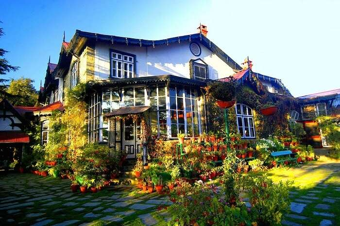 Plush exterior of one of the best resorts in Shimla
