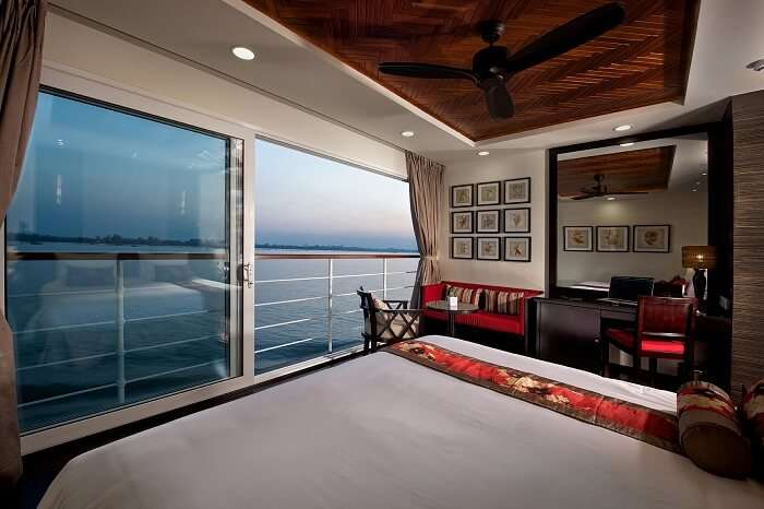 A snapshot capturing one of the suites inside an Avalon cruise