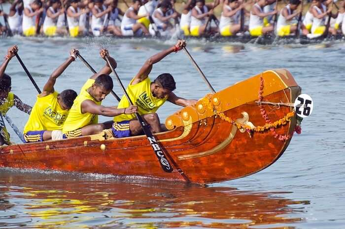 Rowers competing in the Nehru Boat Race in Alappuzha