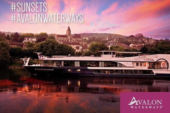 A sunset shot of the Avalon river cruise