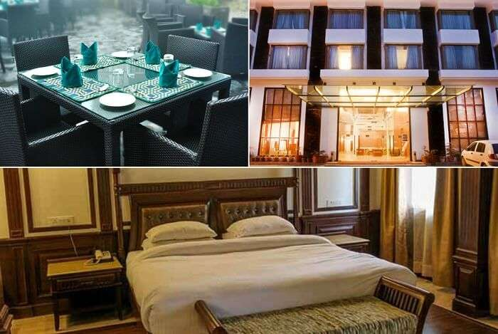 The posh interiors and the entrance of the Hotel Brentwood in Mussoorie near Mall Road