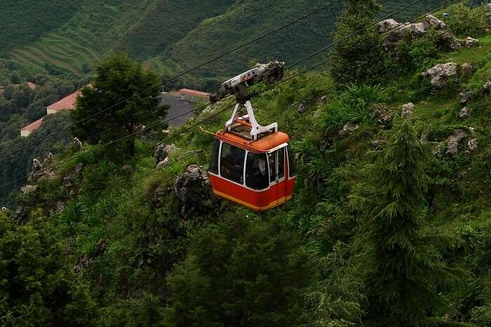 The cable Car ride through the Gun Hill is an amazing experience in Mussoorie