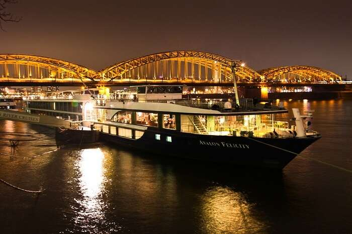 A night shot of the Avalon Felicity at Cologne in Germany
