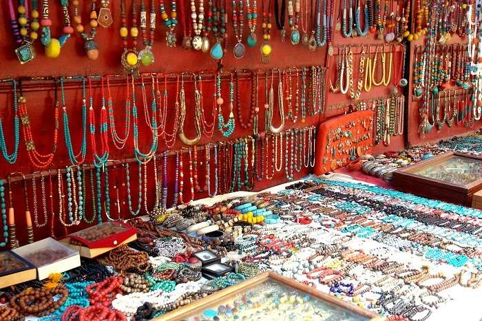 Numerous jewelry items on display at one of the street markets in Mcleodganj